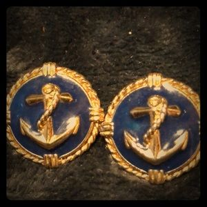 Retro Boating Theme Earrings with Anchor Design